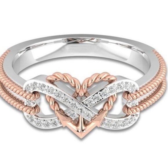 Others Follow Accessories - Heart tow tone ring